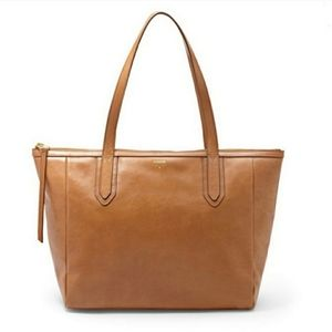 Fossil Leather Sydney Shopper Tote Cognac